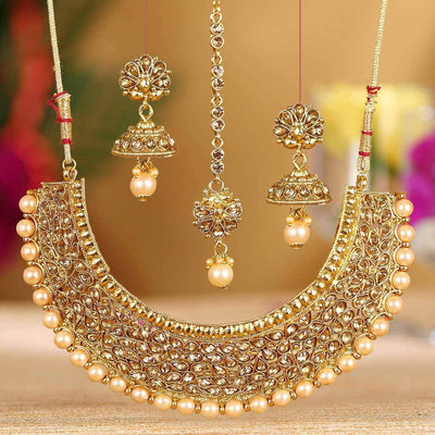 Sukkhi Bollywood Collection Modish Choker Gold Plated Necklace Set for Women