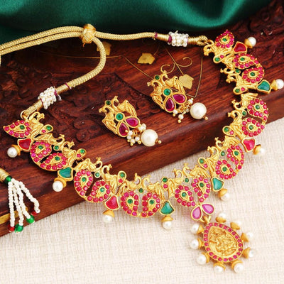 Sukkhi Bollywood Collection Classy Lakshmi Gold Plated Peacock Necklace Set For Women