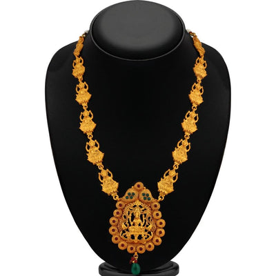 Sukkhi Brilliant Green Temple Gold Plated Necklace Set For Women