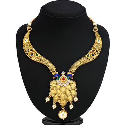 Sukkhi Bollywood Collection Incredible God Plated Peacock Necklace Set For Women