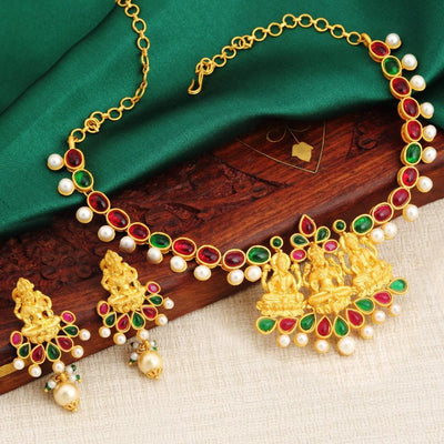 Sukkhi Traditional Gold Plated Temple Necklace Set For Women