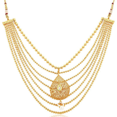 Sukkhi Bollywood Collection Graceful Gold Plated Seven String Necklace Set For Women