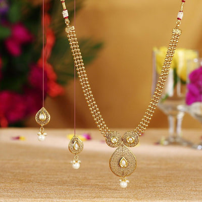 Sukkhi Brilliant Gold Plated White Pearl Necklace Set For Women