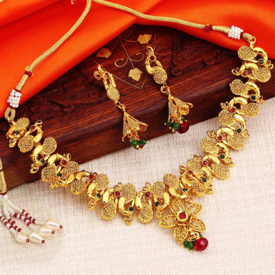 Sukkhi Blossomy Gold Plated Flower Peacock Necklace Set For Women