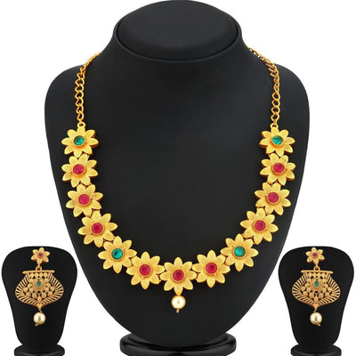 Sukkhi Bollywood Collection Brilliant Gold Plated Flower Necklace Set For Women