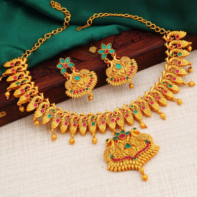 Sukkhi Fashionable Peacock Gold Plated Necklace Set For Women
