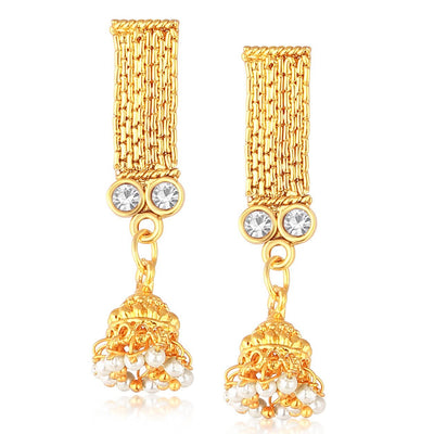 Sukkhi Bollywood Collection Gorgeous Gold Plated AD Stone Jhumki Choker Necklace Set For Women