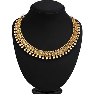 Sukkhi Bollywood Collection Cluster Gold Plated Choker Necklace Set For Women