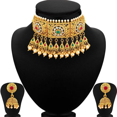 Sukkhi Bollywood Gold Plated Choker Bollywood Collection Necklace Set for Women
