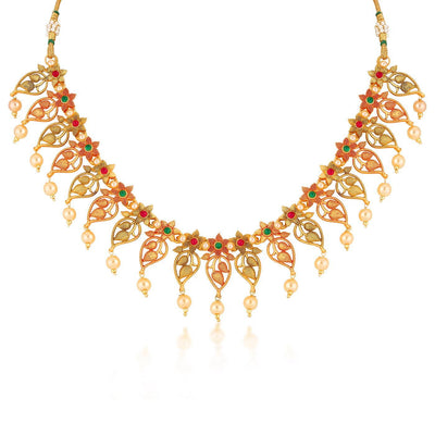 Sukkhi Blossomy flowered Gold Plated necklace Set for Women