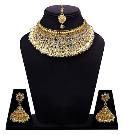 Sukkhi Bollywood Collection Antique Rajwadi Gold Plated Choker Necklace Set For Women
