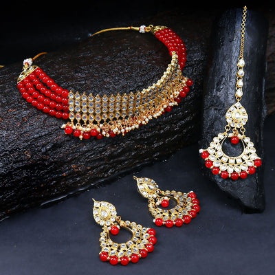 Sukkhi Bollywood Collection Modish Gold Plated Red Choker Necklace Set for women