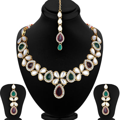 Sukkhi Bollywood Collection Astonish Gold Plated Choker Necklace Set for Women