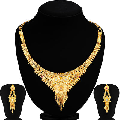 Sukkhi Graceful Alloy Gold plated Necklace Set for Women