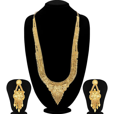 Sukkhi Moddish Gold plated Rani Haar Necklace Set for Women