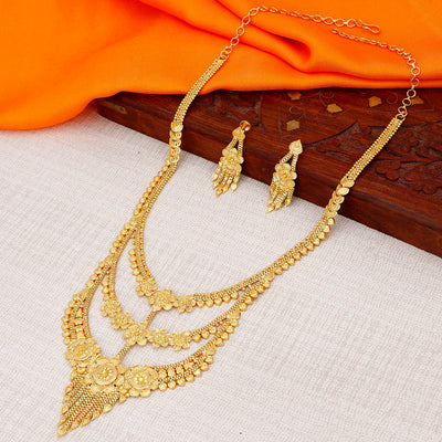 Sukkhi Dazzling Gold plated Rani Haar Necklace Set for Women