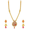Sukkhi Stunning Gold Plated Red Mint Meena Collection Kundan Long Haram Necklace Set For Women