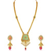 Sukkhi Incredible Gold Plated Green Mint Meena Collection Kundan Long Haram Necklace Set For Women