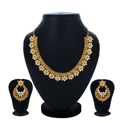 Sukkhi Classy Gold Plated Floral LCT Choker Necklace Set for Women