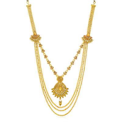 Sukkhi Fabulous Gold Plated 3 String Long Haram Necklace for Women
