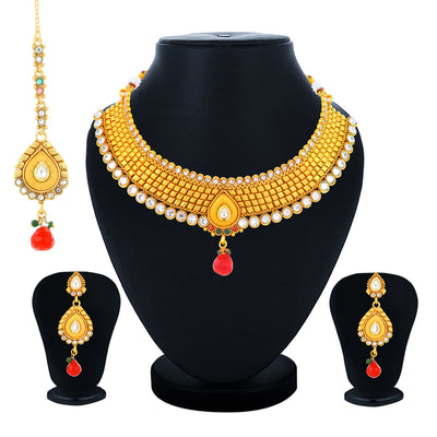 Sukkhi Youthful Gold Plated Kundan Choker Necklace Set for Women