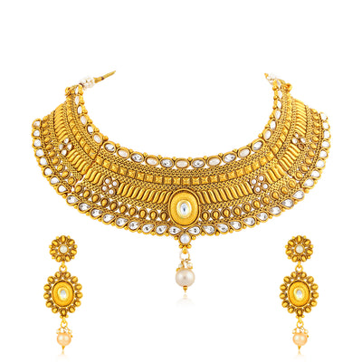 Sukkhi Exotic Gold Plated Kundan Choker Necklace Set for Women