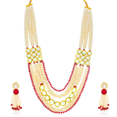 Sukkhi Stylish Gold Plated Kundan and Pearl Long Haram Necklace Set for Women