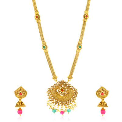 Sukkhi Excellent Gold Plated LCT Stone Long Haram Necklace Set for Women