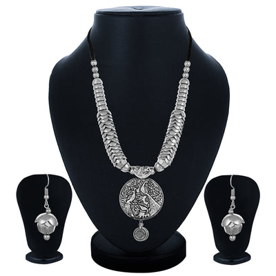 Sukkhi Fascinating Oxidised Leafy Collar Necklace Set for Women