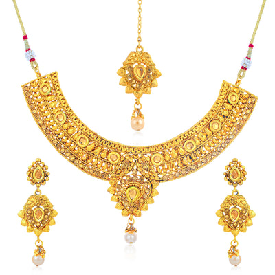 Sukkhi Luxurious Gold Plated LCT Stone Collar Necklace Set for Women