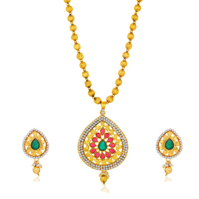 Sukkhi Excellent Gold Plated Almond Shaped Collar Necklace Set for Women