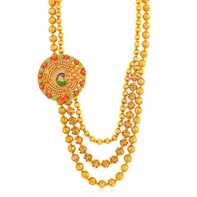 Sukkhi Resplendent Gold Plated Peacock Long Haram Necklace Set for Women