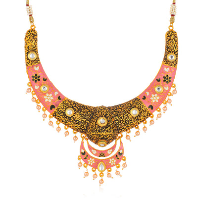 Sukkhi Splendid Gold Plated Mint Meena Collection Choker Necklace Set for Women