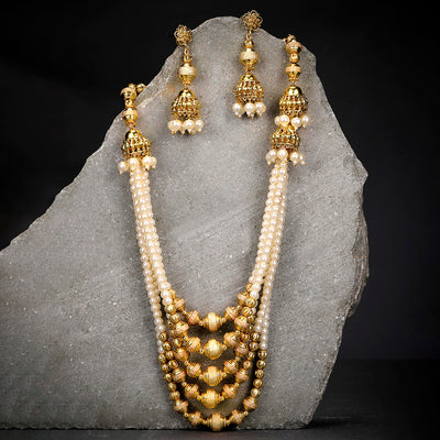 Sukkhi Spectacular Pearl String Gold Plated Neckalce Set for Women