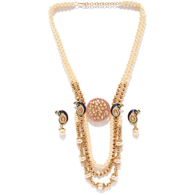 Sukkhi Stunning Peacock Pearl Gold Plated Neckalce Set for Women