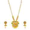 Sukkhi Wavy Gold Plated Peacock Collar Necklace Set for Women