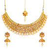 Sukkhi Shimmering Gold Plated Pearl and LCTChoker Necklace Set for Women
