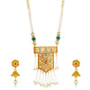 Sukkhi Exotic Gold Plated Kundan and Pearl Collar Necklace Set for Women