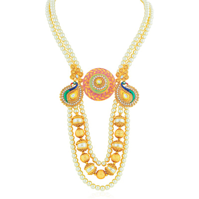 Sukkhi Excellent Gold Plated Peacock Collar Necklace Set for Women