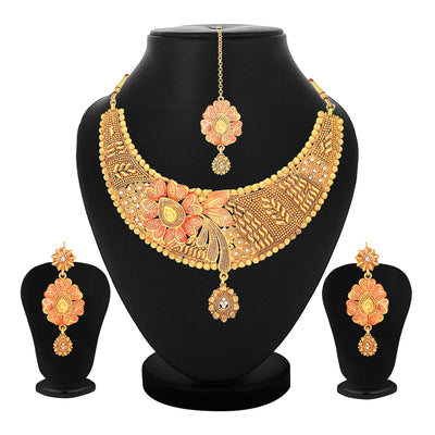 Sukkhi Bollywood Inspired Choker Gold Plated Necklace Set Set for Women