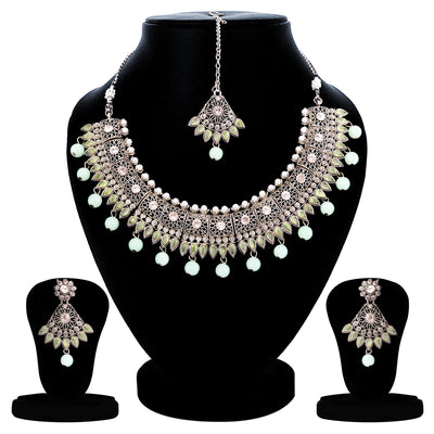 Sukkhi Ravishing Oxidised Pearl Choker Necklace Set For Women