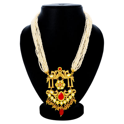 Sukkhi Traditional Pearl Gold Plated Kundan Peacock Necklace Set For Women