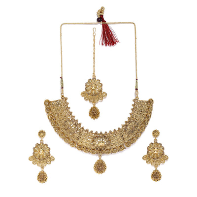 Sukkhi Wavy Gold Plated Choker Neckalce Set for Women