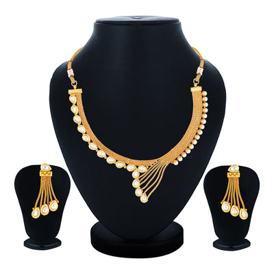 Sukkhi Fine Choker Gold Plated Necklace Set Set for Women