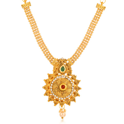 Sukkhi Charming Collar Gold Plated Necklace Set Set for Women