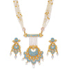 Sukkhi Gold Plated Kundan Blue Mint Meena Collection Necklace Set For Women