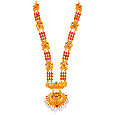 Sukkhi Ethnic Pearl Gold Plated Goddess Long Haram Necklace Set For Women