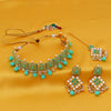 Sukkhi Incredible Pearl Gold Plated Mint Meena Collection Kundan Choker Necklace Set For Women