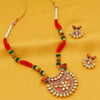 Sukkhi Stunning Pearl Gold Plated Mint Meena Collection Kundan Necklace Set For Women