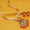 Sukkhi Marvellous Pearl Gold Plated Peacock Mint Meena Collection Kundan Necklace Set For Women